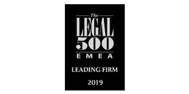 Legal 500 Leading Firm EMEA 2019